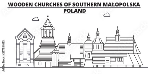 Poland - Southern Malopolska, Wooden Churches travel famous landmark skyline, panorama vector. Poland - Southern Malopolska, Wooden Churches linear illustration