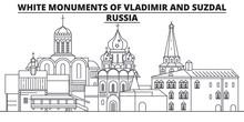 Russia - White Monuments Of Vladimir And Suzdal Travel Famous Landmark Skyline, Panorama Vector. Russia - White Monuments Of Vladimir And Suzdal Linear Illustration
