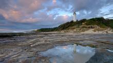 Summer Morning Golden Light On Norah Head Light House, Central Coast, NSW, Australia