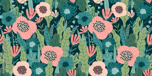 Fototapeten Künstlich Floral seamless pattern. Vector design for paper, cover, fabric, interior decor