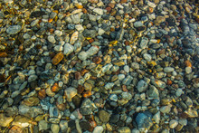 Abstract Unfocused Fuzzy Underwater Colorful Stones Background Sea Bottom Concept Shot