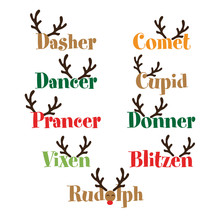 Santa's Reindeer Names - Calligraphy Phrase For Christmas. Hand Drawn Lettering For Xmas Greetings Cards, Invitations. Good For T-shirt, Mug, Scrap Booking, Gift, Printing Press. Holiday Quotes.