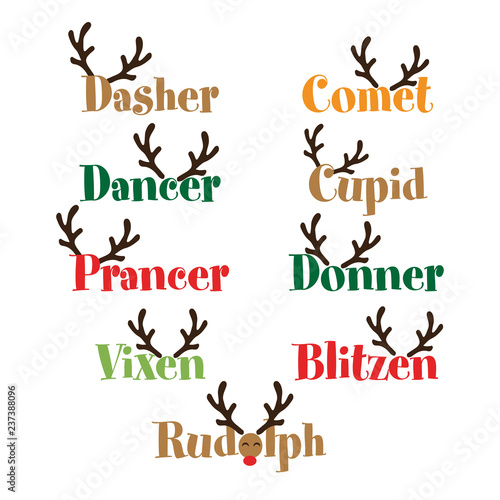 Santa's Reindeer names - Calligraphy phrase for Christmas Canvas-taulu
