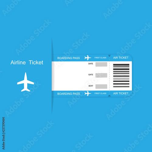 Cuadros en Lienzo Modern airline travel boarding pass ticket on blue background.