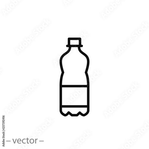 Fototapeta plastic bottle icon, line sign on white background - editable vector illustration eps10 obraz