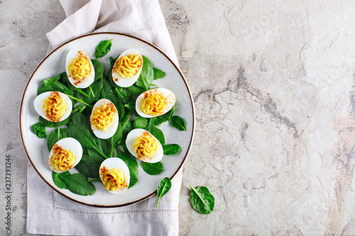 Fototapeta Deviled Eggs with Paprika as an Appetizer