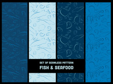 Set Of Seamless Pattern Seafood And Fish Blue Outline Brushstroke