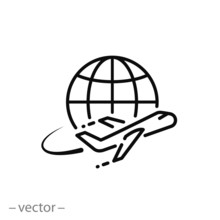 Flying Plane Around The Earth Icon Vector