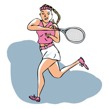 Hand Drawn Vector Of Female Tennis Player Playing A Volley Stroke. Editable Layers. Flat Design.