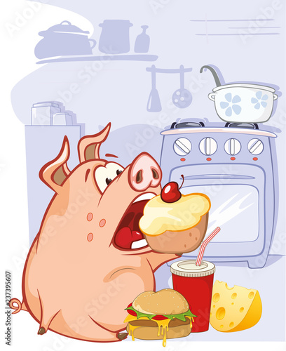 Vector Illustration of a Cute Pig. Cartoon CharacterБезымянный-4