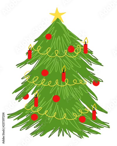 Colorful Christmas Ornaments Drawings.Decorated Christmas Tree Doodle Colorful Vector Drawing