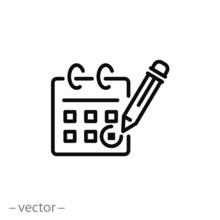 Calendar, Pencil, Marking Day, Icon Vector