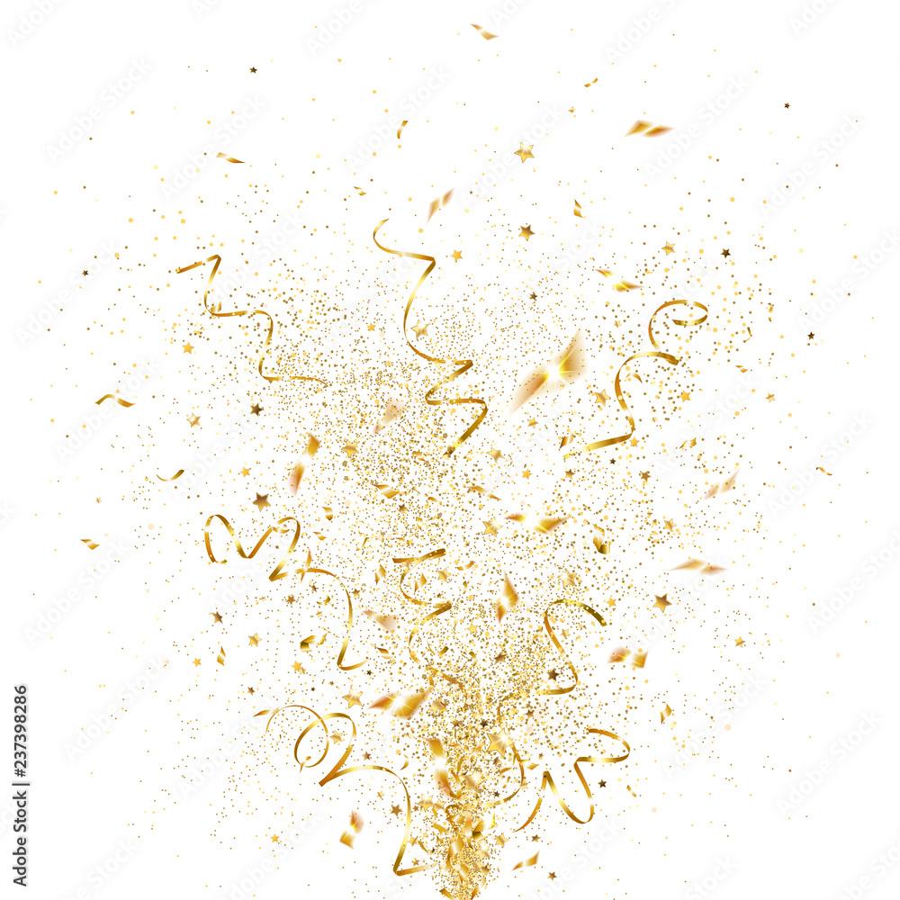 Fototapeta Explosion of Golden Confetti