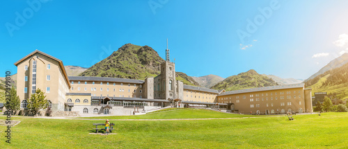 Vall de Nuria Sanctuary hotel building in the catalan pyrenees mountains, Spain Wallpaper Mural