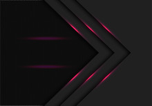 Abstract Pink Light Line Arrow Direction With Black Hexagon Mesh Blank Space Design Modern Futuristic Technology Background Vector Illustration.