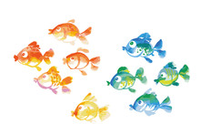 Cute Tropical Fish Watercolor Hand Drawn Illustration.