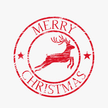 Shabby Round Retro Print Of Santa Claus Airmail.