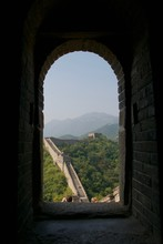 Great Wall Of China Seen Through The Window Of A Fort