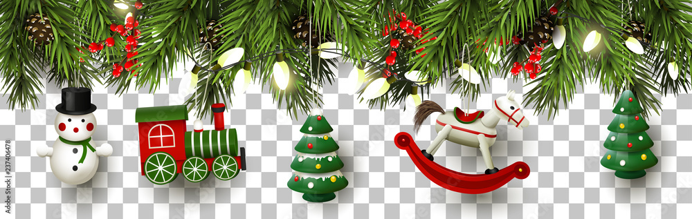 Fototapeta Christmas border with branches and wooden toys