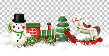 Christmas Border With Wooden Toys Decorations