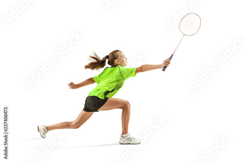 Photo The one caucasian young teenager girl playing badminton at studio