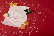 Childrens Letter To Santa With Mince Pies And Decorations