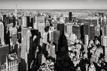 Fototapeta Nowy York New York City aerial view of the skyscrapers of Murray-Hill Midtown Manhattan in Black & White