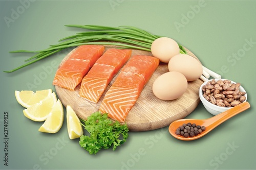 Fresh raw salmon on backgound