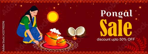 Fotografering Happy Pongal religious festival of South India celebration background