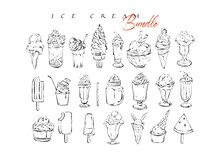 Hand Drawn Vector Graphic Textured Artistic Menu Ink Collection Set Sketch Illustrations Drawing Bundle Of Ice Cream And Sweet Desserts Cocktails Drinks In Glass Isolated On White Background
