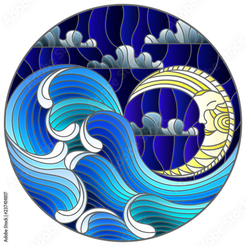 Obraz na plátně  The illustration in stained glass style painting abstract landscape sea waves on