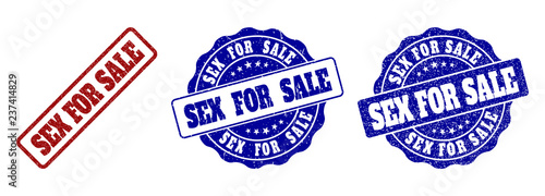 SEX FOR SALE grunge stamp seals in red and blue colors Canvas Print