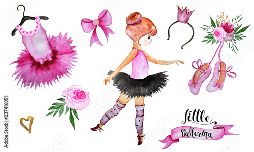 Fotografering Watercolor handpainted collection Little ballerina with ballerinas, Pointe shoes
