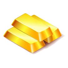 Three Gold Bars Icon Isolated ...