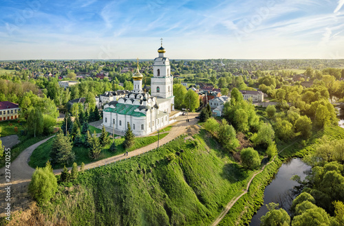 Fotobehang Historisch geb. Vyazma, Smolensk oblast, Russia. Aerial view of Holy Trinity Cathedral built in 1676. Cultural heritage site of Russia