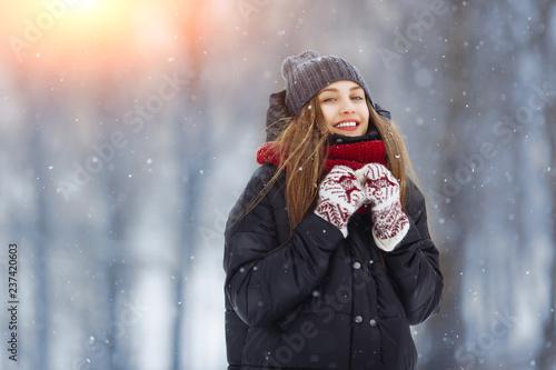 Obraz Winter young woman portrait. Beauty Joyful Model Girl laughing and having fun in winter park. Beautiful young female outdoors, Enjoying nature, wintertime - fototapety do salonu