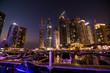 Dubai, UAE - October, 2018. Skycrapers at Dubai Marina. Dubai marina at night night cityscape lights
