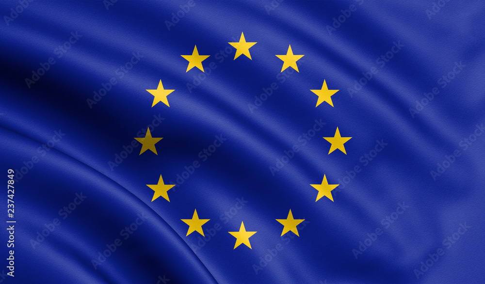 Fototapety, obrazy: Waving European Union flag , EU flag in 3D Illustration.
