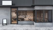 Front View Cafe Shop & Restaurant Design. Modern Loft Metal Sheet Black. Wall Concrete,windows Black Metal Frame- 3D Render