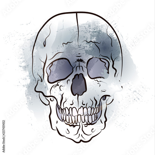 Türaufkleber Aquarell Schädel Black and white graphics. Skull floating out of watercolor stains
