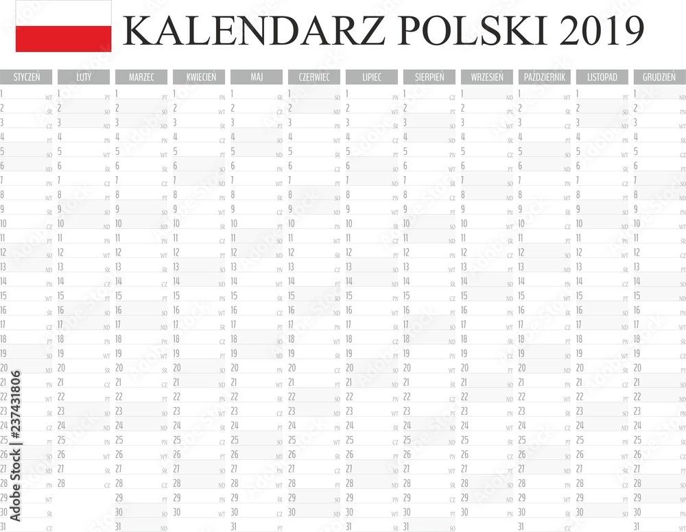 Fototapeta Kalendarz, planer 2019 rok język polski, kolor szary wektor  - obraz na płótnie