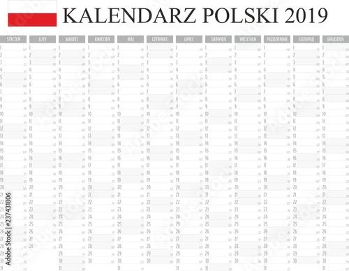 Fototapeta Kalendarz, planer 2019 rok język polski, kolor szary wektor  obraz na płótnie