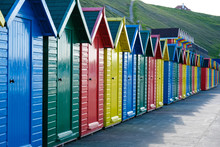F Brightly Painted Beach Huts ...