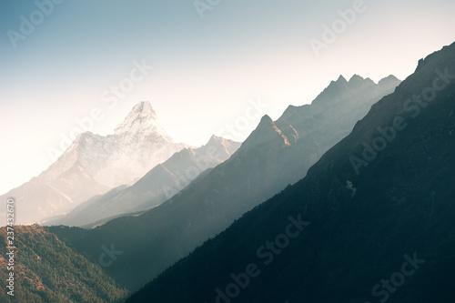 фотография  View of Mount Ama Dablam at sunrise in Himalayas, Nepal.