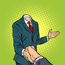 Businessman Handshake, A Template Without A Head