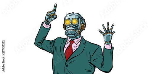 Fotografie, Obraz emotional speaker robot, dictatorship of gadgets. isolate on whi