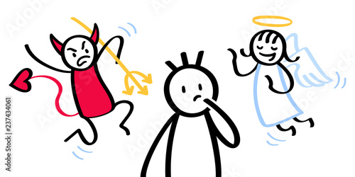 Confused stick man with conflicting shoulder angel and devil isolated on white b Fototapet