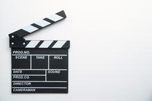 Movie Clapper On White Background.