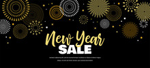 Sale Banner Background For New Year Shopping Sale. Happy New Year Sale Lettering On Sky Full Of Gold Fireworks. Design With For Web Online Store Or Shop Promo Offer