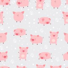 Seamless Pattern Cheerful Cute Little Cute Pigs In Snow. Cartoon Animal Vector Illustration.